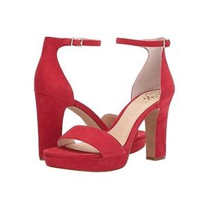 Vince Camuto Sathina Open Toe Sandal Glamour Red